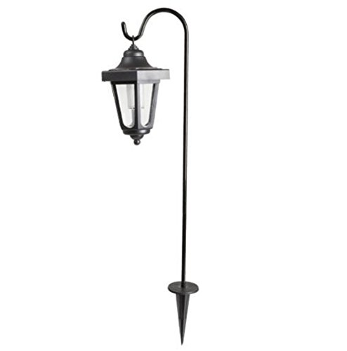 Hermes2shop Set of 2 LED Solar Hanging Lights Lanterns on Shepherds Hook Metal Pole