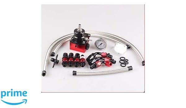 New Adjustable JDM Fuel Pressure Regulator Black Kit  AN 6 Fitting End