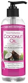 Pure Body Naturals Fractionated Coconut Oil for Hair and Skin, 16 Fl. Ounce