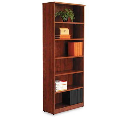 - Alera VA638232MC Valencia Series Bookcase, Six-Shelf, 31 3/4w x 14d x 80 3/8h, Medium Cherry