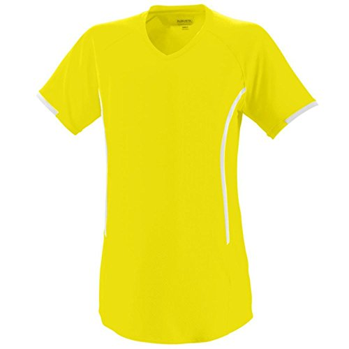 Augusta Activewear Girls Heat Jersey, Power Yellow/White, Medium