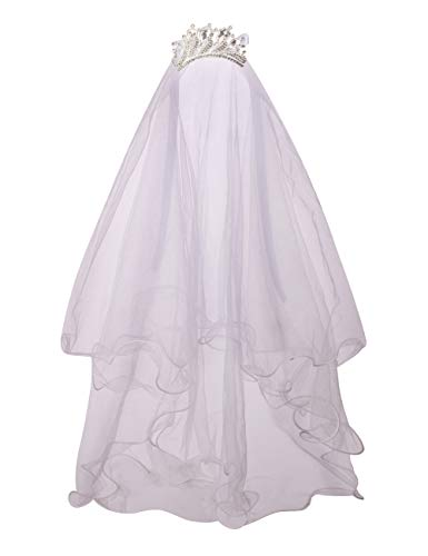 Flower Girls White First Communion Veil Headband with Bow (One size, White (Peacock Crown))