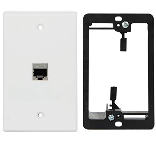 - Wi4You RJ45 Wall Plate 1 Port, Cat6 Wall Plate White + Low Voltage Mounting Bracket + Full Shielded Cat6A Female Coupler, Applied to Cat5, Cat5e, Cat6, Cat6A Ethernet Cable (Cat6A-1port, 1pack)