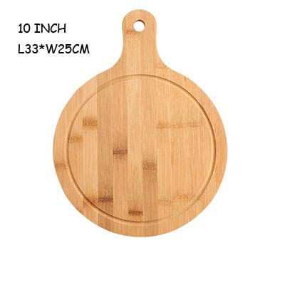 (Best Quality - Dishes & Plates - Household unpainted round pizza plate cut bread dessert steak chopping board Japanese plate Western dish pizza tray bamboo - by SeedWorld - 1 PCs)