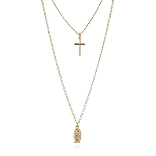 Double Strand Coin - JSEA Womens Double Layer Gold Chain Necklace Cross Christian Pendant Necklace