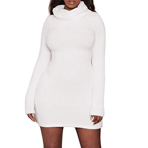 Women's Solid Slim Fit Dresses Long Sleeve Turtleneck Knit Stretch Sweater Bodycon Mini Plush Dresses White