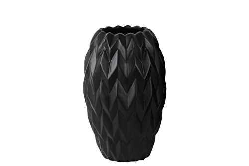 Urban Trends Ceramic Round Vase with Round Lip Embossed Wave and Rounded Bottom, Small, Gloss Black from Urban Trends