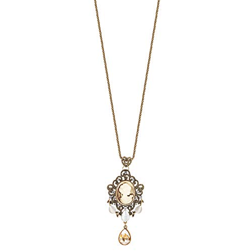 IDesign Vintage Long Pendant Dangle Necklace Retro Brown Victorian Diamond Cameo Crystal Charm Handing Drop Necklace Antique Gold Plated for Women Gift for Mother's -
