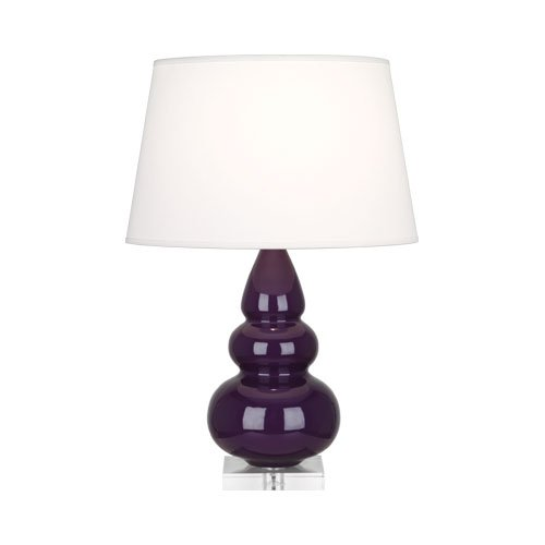 Robert Abbey A380X Lamps with Pearl Dupioni Fabric Shades, Lucite Base/Amethyst Glazed Ceramic Finish