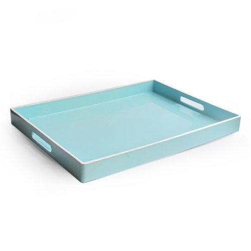 American Atelier Rectangular Tray with Handle, Teal (Rectangular Trays)