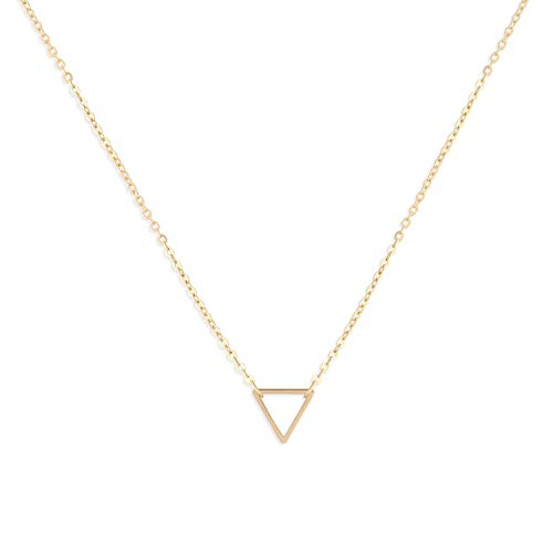 (Befettly Womens Triangle Pendant Necklace 14k Gold Filled Geometric Figure Women)