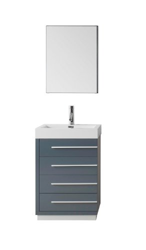 Virtu USA Bailey 24 inch Single Sink Bathroom Vanity Set in Grey w/Integrated Square Sink, White Polymarble Countertop, Single Hole Polished Chrome, 1 Mirror - JS-50524-GR ()