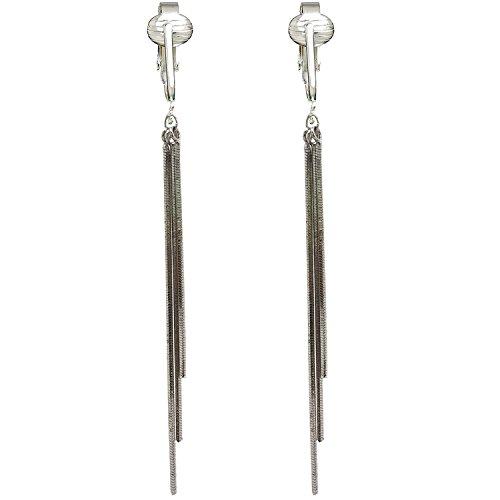 Modern Silver Dangle Clip On Earrings for Women & Girls Clip-ons, Non-pierced Ears, Long Dazzling Drop (Silver Chain - Clip Custom On