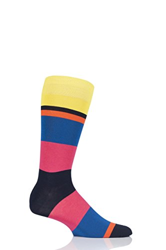 Mens 1 Pair Richard James Miramar Mirrored Block Stripe Cotton Socks-Acid 11-13 US Mens