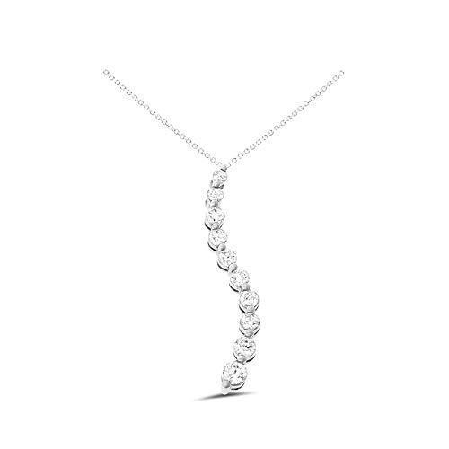 0.55CTW 14K White Gold Genuine Natural Diamond Journey Pendant With Square Rolo Chain Necklace