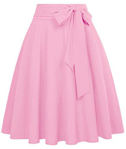 Women Pleated Vintage Skirts with Bow-Knot Waist A-Line Skirt Black Size XL