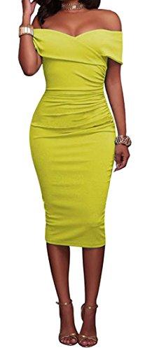 Midi Cromoncent Womens Slim Sexy Yellow Dress Off Strapless Shoulder Fit Club Bodycon z7xSgz