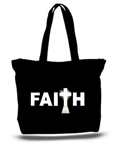 Religious Canvas Tote Bags (XXL 23 x 17 x 5 Canvas Cotton Tote Bag Faith - Religious)