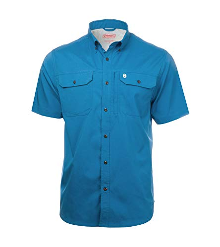 Short Sleeve Heather Ripstop Guide Shirts for Men Sun Proof Spring Edition (Medium, Vallarta Blue)