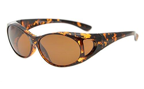 Eyekepper Retro Style Polarized Fitover Sunglasses for Prescription Glasses (Amber Tortoise/Brown - Polarised Prescription Sunglasses