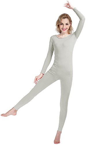 Shinningstar Girls Womens Well-fit Spandex Lycra Bodysuit Long Sleeve Scoop Neckline Footless Unitard (XXL, Light Gray) ()