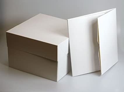 """Color blanco cajas de cartón cuadradas para tartas – 10 """"cuadrado (254 mm"""