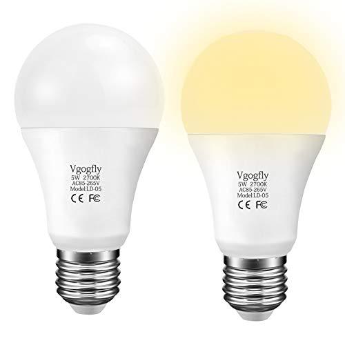 Dusk to Dawn Light Bulb LED Outdoor Light Bulbs Sensing Lighting Sensor Socket Photoelectric Switch for Lights Porch 5W (E26, 450lumen, Warm White, 2-Pack) ()