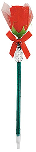 (Silk Rose Flower Pen with Silver Tone Miraculous Medal, 9 1/2 inch)