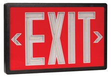 Tritium Self Luminous Exit Sign Red Face Black Housing - 10 Year Life Span - Single Face - Universal Mount