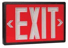 Tritium Exit Sign (Tritium Self Luminous Exit Sign Red Face Black Housing - 10 Year Life Span - Single Face - Universal Mount)