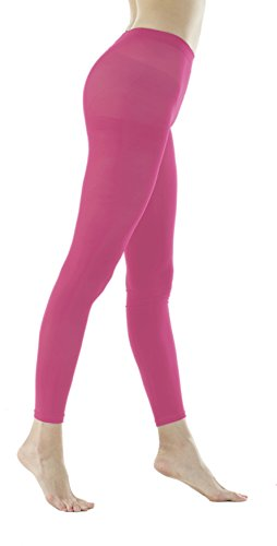 - Women's 80Denier Semi Opaque Solid Color Footless Pantyhose Tights 2pair or 6pair (M/L, Hot Pink)