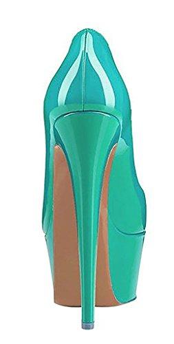 Sui Della Pattini Ybeauty Il Scivolare Rotondi Matrimonio Delle Donne Talloni Tallone Dell'alto Base Piattaforma Di Da Pompe Partito Verde Vestito Per 5qvqS8