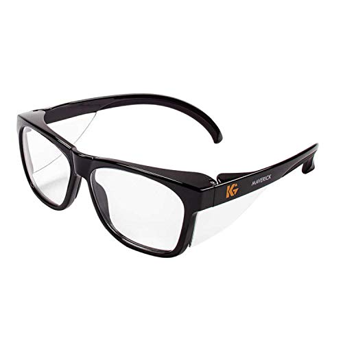 Kleenguard Maverick Safety Glasses with Intergrated Side Shields (1 Pair) (49309 Clear Anti-Fog Lens with Black Frame)