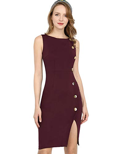 Allegra K Women's Button Decor Sleeveless Slit Stretchy Office Bodycon Sheath Dress XS ()