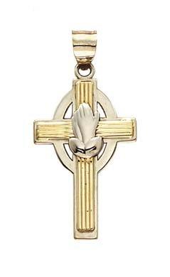 Or bicolore 14carats Pendentif-Croix Prière mains -