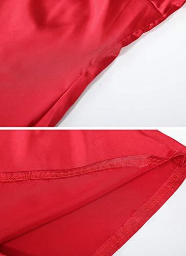 Rond Tulle Fashion Longues et Automne Tops Tee Manches T Chemisiers Shirts Col pissure Hauts Casual Printemps Rouge Blouse Femmes Shirts wAvZqnvP