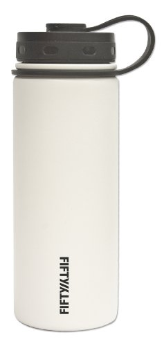 Lifeline Water Bottles - Lifeline 7504WH White Stainless Steel Wide Mouth Water Bottle - 18 oz. Capacity