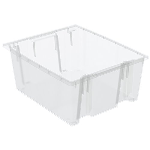 Akro-Mils 35225SCLAR Nest and Stack Plastic Storage and Distribution Tote (Case of 3), Clear, 23.5'' L x 19.5'' W x 10'' H by Akro-Mils