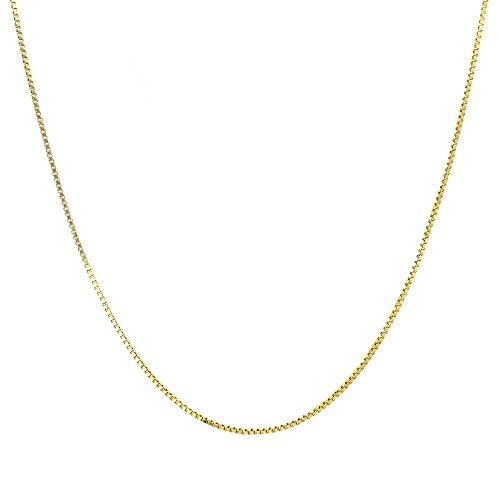 Chain Necklace - 1mm Box Chain 14k Gold Dipped - Add your own pendant 14 16 18 20 24 30