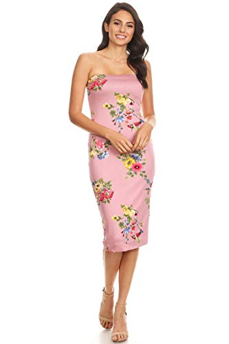 Lined Tube Top Body-Con Midi Dress/Made in USA Floral Dusty Pink M