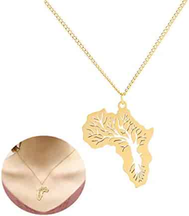 112beeeeb8 JUESJ Hip Hop Stainless Steel Africa Map Pendant Necklace,Hollow Life Tree Pendant  Necklace for