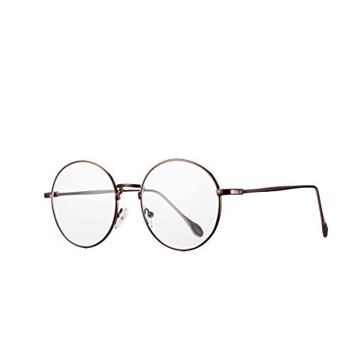 AZORB Non-prescription Circle Round Clear Glasses for Men Women (Copper, - Glasses Round Prescription