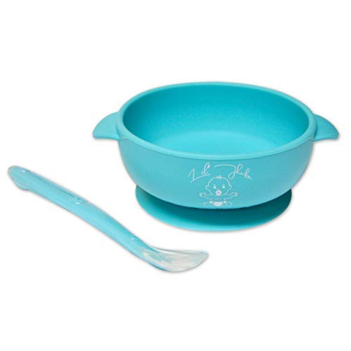 - Baby Silicone Feeding Set - Stay up Food Bowl Super Suction Base & with Soft Spoon Aid Set -   Great for Feeding Kids & Toddlers, Microwave & Dishwasher Safe, Non Toxic & Eco Friendly (Blue)