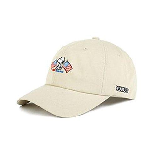 Peanuts Authentic Baseball Trucker Golf Sports Hats snoopy flag BALL CAPs Beige ()