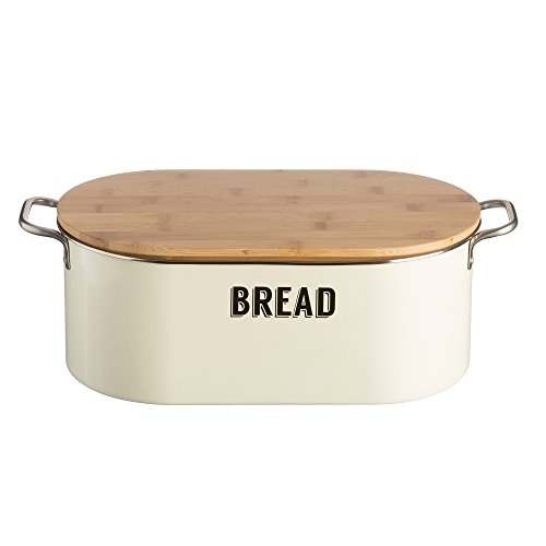 Typhoon Living Coated Steel Retro Bread Bin with Bamboo Lid, 14-1/2-Inches by 7-Inches by 6-inches, Cream