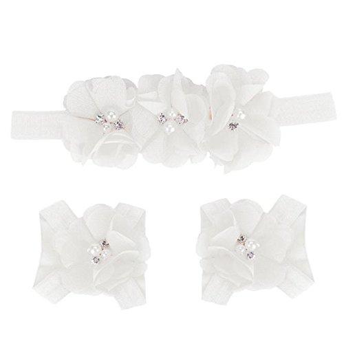 Headband Bare Feet - Elevin(TM) 1Pair Newborn Baby Chiffon Foot Flower Barefoot Sandals + Headband Set (White)