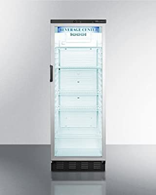 """Summit SCR1300 24"""" Commercially Approved Beverage Center with 13 cu. ft. Capacity Auto Defrost Door Lock and Glass Door in"""