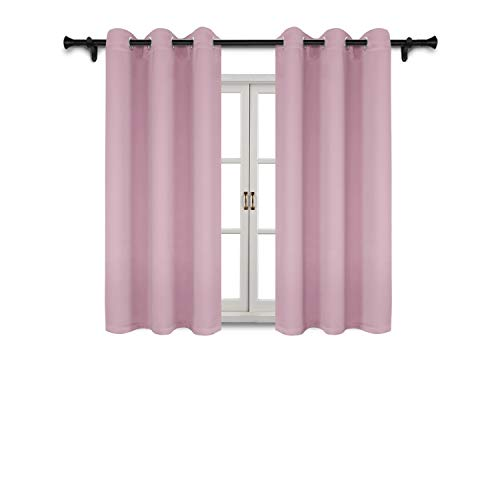 (SUO AI TEXTILE Thermal Insulated Curtain Grommet Top Blackout Curtains for Windows 37x63 Inch Baby Pink 2 Curtain Panels)