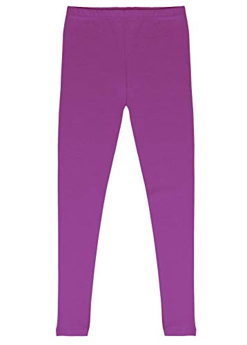 CAOMP Girls'%100 Organic Cotton Leggings for School Play (3-4, Purple)