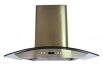 "CAVALIERE 36"" Wall Mounted Stainless Steel / Glass Kitchen Range Hood 860 CFM Spagna Vetro Econo Series SV198D-SP36"
